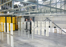 Overhead Monorail system with Shifting Bridge in a Paint finishing system / Powder coating system